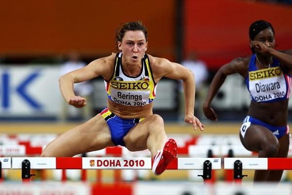 Eline Berings of Belgium competes in the 60m hurdle heats in Doha (Getty Images)