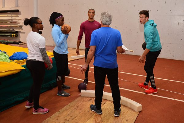The 'On Camp' group do medicine ball drills with Ashton Eaton and Harry Marra (Phil Johnson / TrackTown USA)