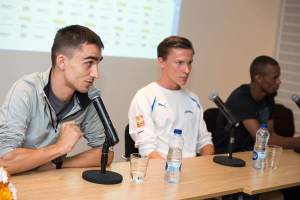 Adam Kszczot at the press conference ahead of the IAAF Diamond League Meeting in Stockholm (Deca Text & Bild)