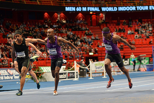 Kim Collins wins the 60m at the Globen Galan in Stockholm (Hasse Sjogren)