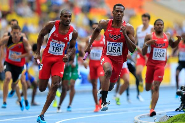 Trinidad and USA in the mens 4x400 relay at the IAAF World Athletics Championships Moscow 2013 (Getty Images)