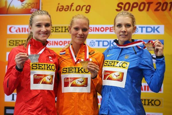 The pentathlon medallists at the 2014 IAAF World Indoor Championships in Sopot (Getty Images)