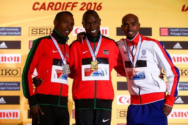 Men's medallists Bedan Karoki, Geoffrey Kamworor and Mo Farah at the IAAF/Cardiff University World Half Marathon Championships Cardiff 2016 (Getty Images)