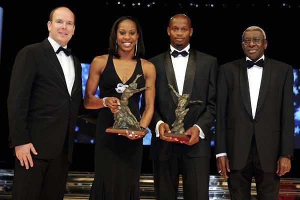 International Athletic Foundation (IAF) Honorary President HSH Prince Albert II of Monaco, Sanya Richards, Asafa Powell, IAF & IAAF President Lamine Diack (Getty Images)