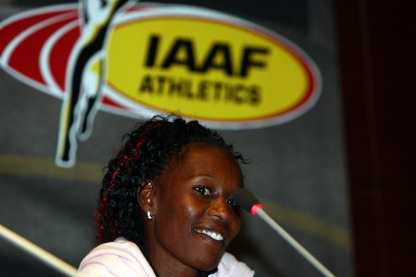 Janeth Jepkosgei at the launch of the 2008 AF Golden League (Getty Images)