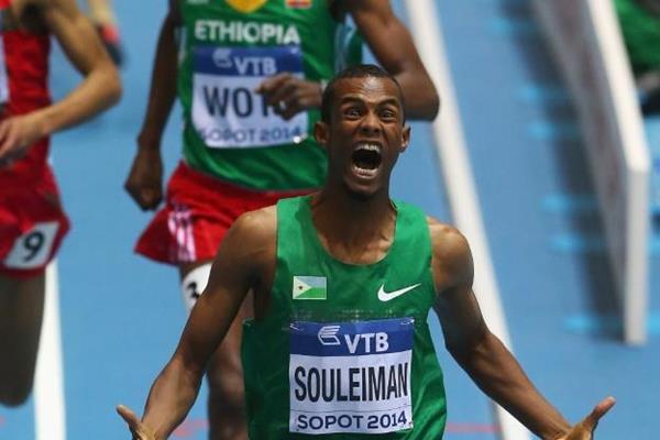 Ayanleh Souleiman in the 1500m at the 2014 IAAF World Indoor Championships in Sopot (Getty Images)