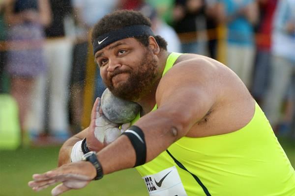 Reese Hoffa, winner of the shot put at the IAAF Diamond League meeting in Eugene (Kirby Lee)