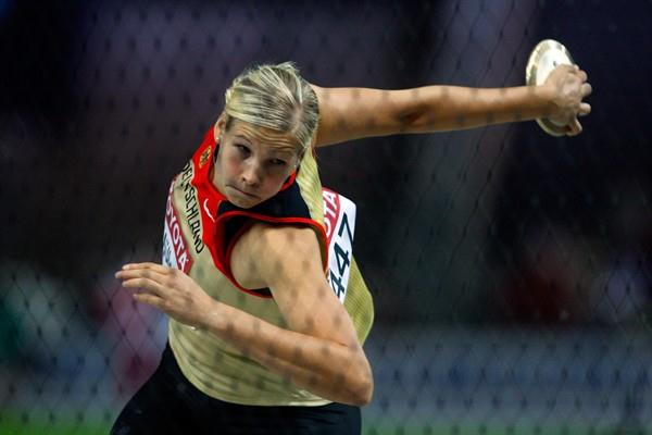 Nadine Müller of Germany competes in the women's Discus Throw final in the Berlin Olympic Stadium (Getty Images)