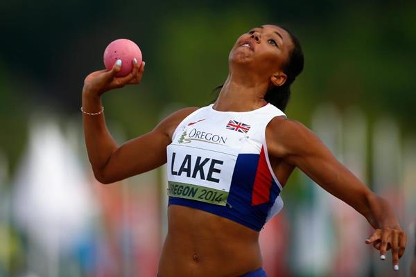 Morgan Lake in the heptathlon shot at the 2014 IAAF World Junior Championships in Eugene (Getty Images)