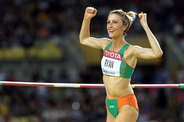 Deirdre Ryan of Ireland celebrates during the women's high jump final (Getty Images)