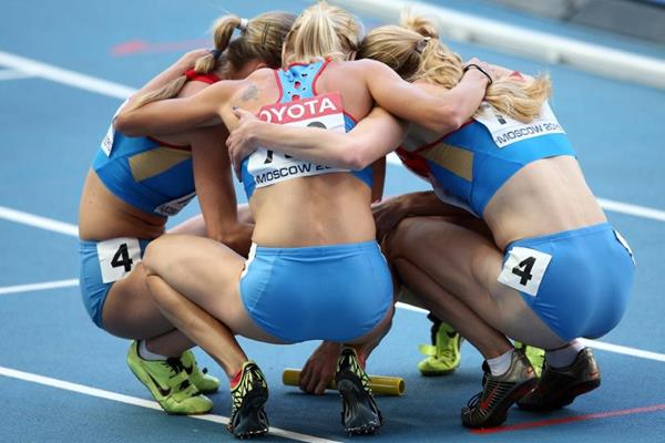 Russian Team in the womens 4x400m Relay at the IAAF World Athletics Championships Moscow 2013 (Getty Images)