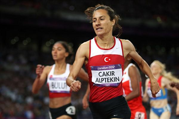 Gold medalist Asli Cakir Alptekin of Turkey crosses the finish line during the Women's 1500m Final 4 of the London 2012 Olympic Games  on August 10, 2012 (Getty Images  )