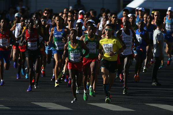 Lelisa Desisa and Yemane Tsegay of Ethiopia lead the pack in the men's marathon at the IAAF World Championships, Beijing 2015 (Getty Images)