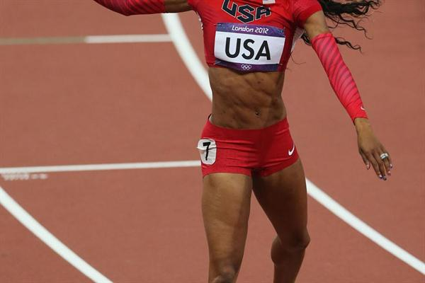 Sanya Richards-Ross of the United States celebrates after winning gold in the Women's 4 x 400m Relay Final of the London 2012 Olympic Games on 11 August 2012 (Getty Images)