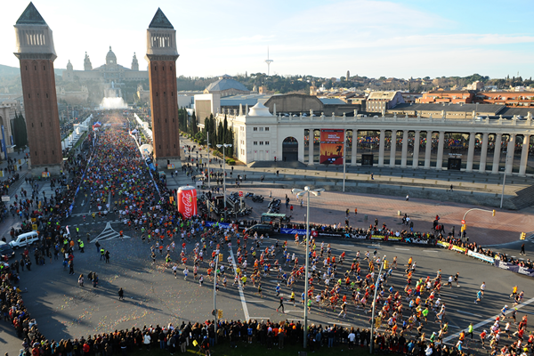 Runners in action at the Barcelona Marathon (AFP / Getty Images)