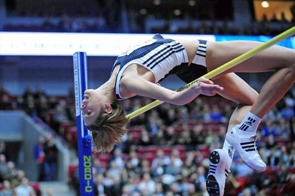 Blanka Vlasic jumping in the Malmö Indoor Gala (Hasse Sjögren)