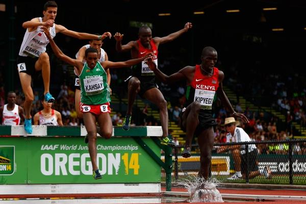 Barnabas Kipyego in the 3000m steeplechase at the IAAF World Junior Championships, Oregon 2014 (Getty Images)