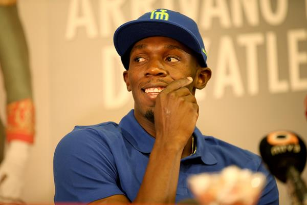 Usain Bolt at the Golden Gala Pietro Mennea press conference, Tuesday 4 June (Giancarlo Colombo)