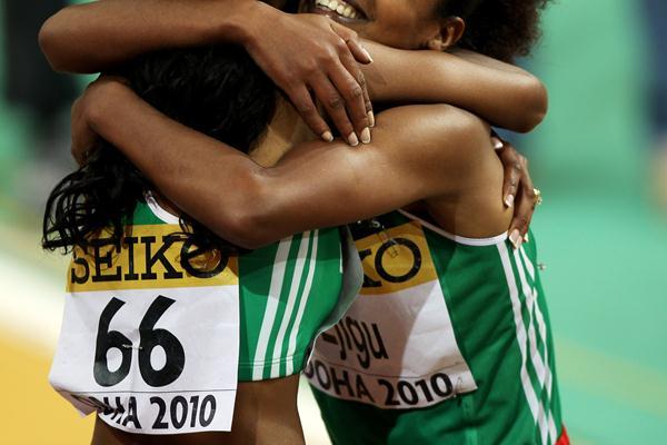 Meseret Defar of Ethiopia celebrates winning gold in the 3000m with Sentayehu Ejigu of Ethiopia (Getty Images)