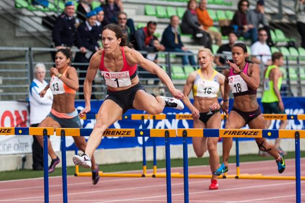 Jessica Zelinka wins the 100m hurdles in Florence (Organisers)