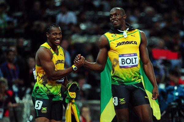 Silver medalist Yohan Blake of Jamaica congratulates Usain Bolt of Jamaica on winning gold in the Mens 100m Final on Day 9 of the London 2012 Olympic Games on 5 August 2012 (Getty Images)