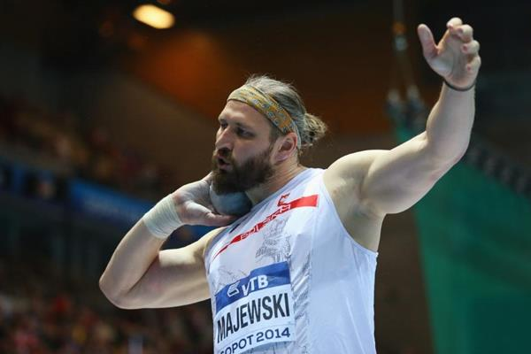 Tomasz Majewski in shot put qualifying at the 2014 IAAF World Indoor Championships in Sopot (Getty Images)