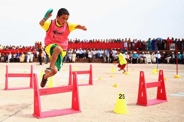 A child takes part in the IAAF Kids Athletics event in Ait Iktel (Getty Images)