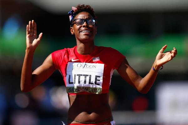 400m hurdles winner Shamier Little at the IAAF World Junior Championships, Oregon 2014 (Getty Images)