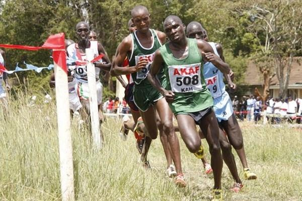 Defending champion Vincent Kiprop (508) leads the men's field at the 2010 Kenyan Armed Forces National Cross Country Championships at Kahawa, Nairobi. Mark Kiptoo won the race with Kiprop second. (Elias Makori)
