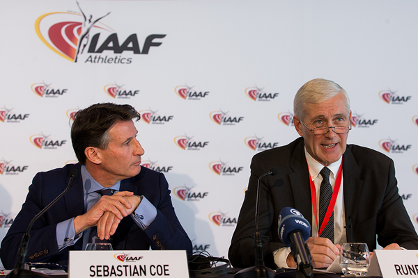 IAAF President Sebastian Coe and IAAF Taskforce independent chair Rune Andersen at the press conference following the 203rd IAAF Council Meeting in Monaco (Philippe Fitte / IAAF)