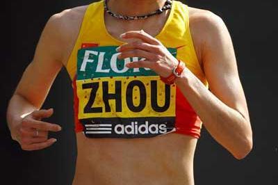 Zhou Chunxiu on her way to her London win (Getty Images)