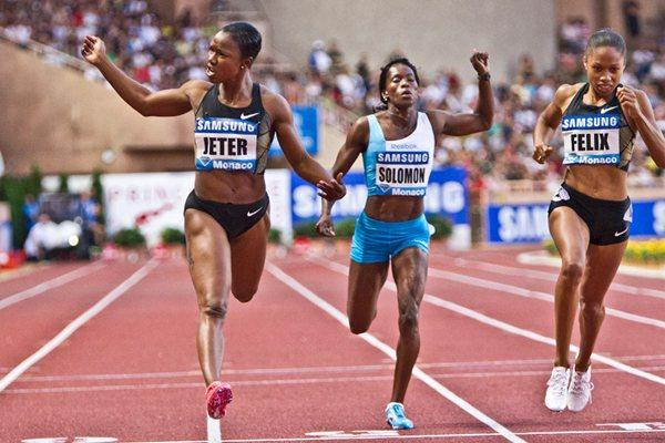 Carmelita Jeter improves to 22.20 with a big win in Monaco (Philippe  Fitte)
