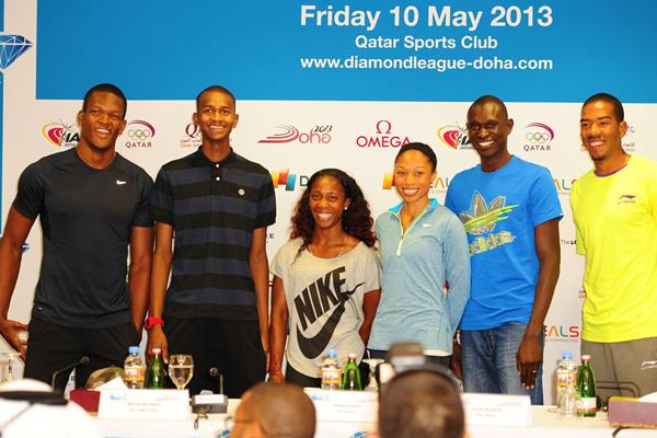 Keshorn Walcott, Mutaz Essa Barshim, Shelly-Ann Fraser-Pryce, Allyson Felix, David Rudisha and Christian Taylor at the Doha press conference (Errol Anderson)