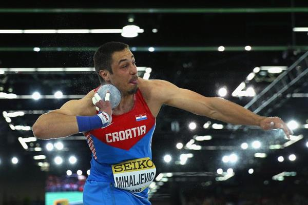Filip Mihaljevic in the shot put at the IAAF World Indoor Championships Portland 2016 (Getty Images)