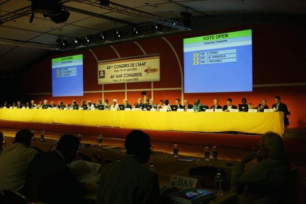 A General View of the IAAF Congress Room at the Carrousel du Louvre in Paris (Getty Images)