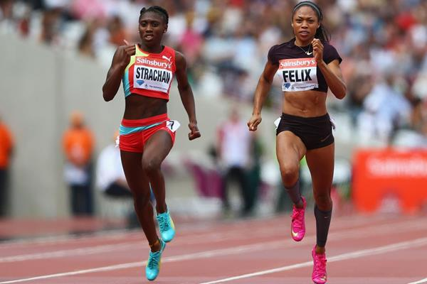 Allyson Felix and Anthonique Strachan in the 200m at the IAAF Diamond League meeting in London (Getty Images)