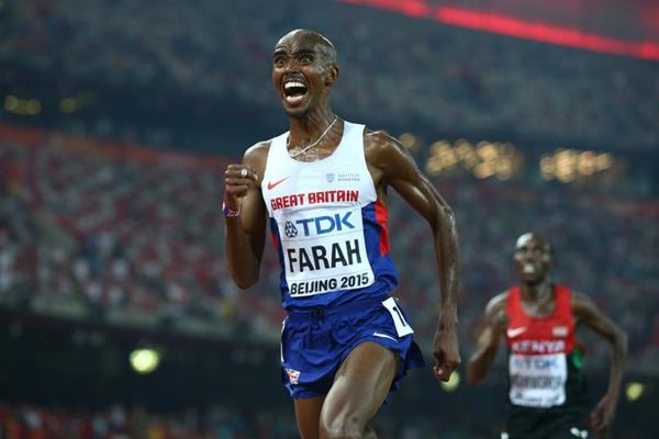 Mo Farah on his way to winning the 10,000m at the IAAF World Championships, Beijing 2015 (Getty Images)