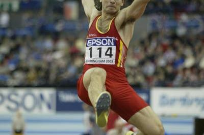 Yago Lamela (ESP) in action in the men's long jump final (Getty Images)