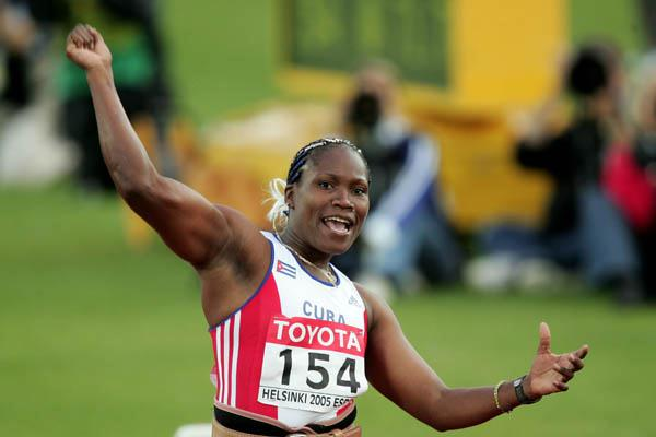 Osleidys Menendez of Cuba celebrates breaking the Javelin World record (Getty Images)