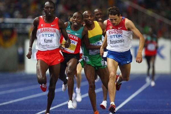 Yusuf Kamel and Yuriy Borzakovskiy secure the automatic qualifying places in the second of the men's 800m semi-finals in Berlin (Getty Images)