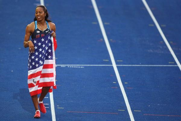 The newly crowned 400m World Champion Sanya Richards on her lap of honour of the Berlin Olympic Stadium during the IAAF World Championships (Getty Images)