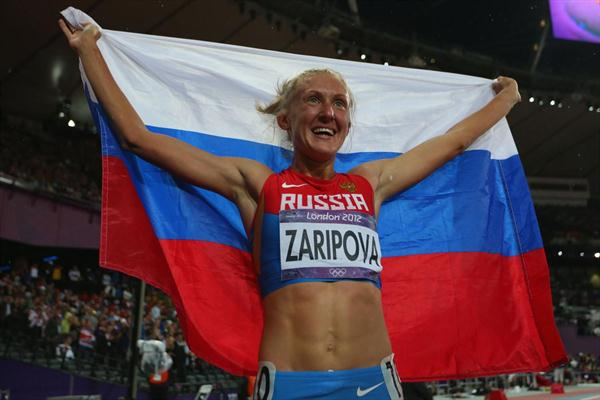 Yuliya Zaripova of Russia celebrates after winning the gold medal in the Women's 3000m Steeplechase final on Day 10 of the London 2012 Olympic Games on 6 August 2012 (Getty Images)