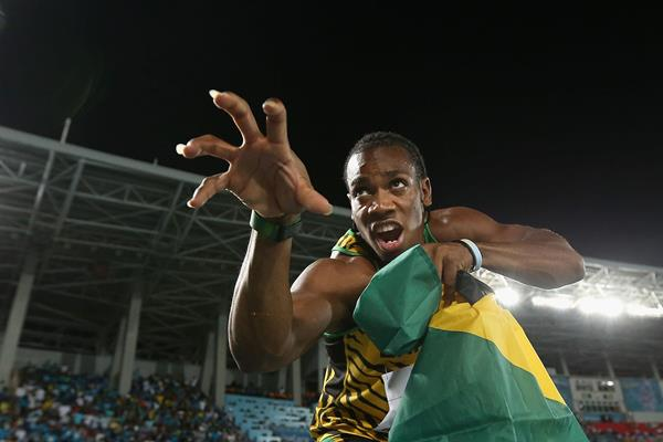 Yohan Blake of Jamaica poses as the 'beast' after Jamaica set a new world record of 1:18.63 in the Men's 4x200 metres relay during day one of the IAAF World Relays  (Getty Images)