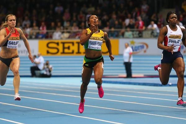 Shelly-Ann Fraser-Pryce in the 60m at the 2014 IAAF World Indoor Championships in Sopot (Getty Images)