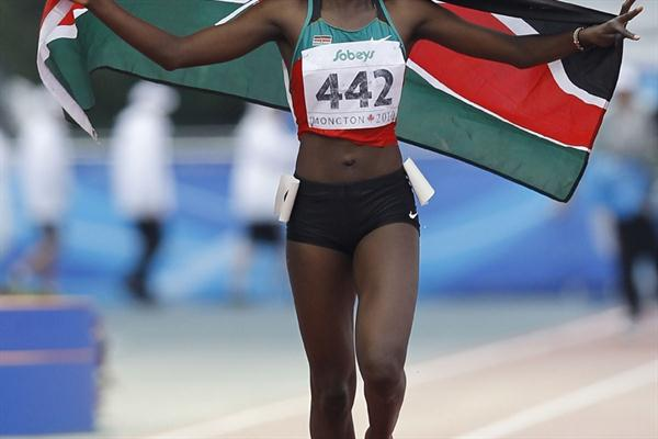 Kenya's Purity Kirui on her lap of honour after winning the Steeplechase (Getty Images)