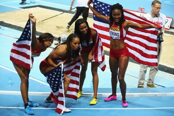 The US women's 4x400m team at the 2014 IAAF World Indoor Championships in Sopot (Getty Images)