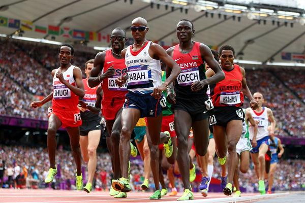 (L-R) Bilisuma Shugi of Bahrain, Lopez Lomong of the United States, Mo Farah of Great Britain, Isiah Kiplangat Koech of Kenya and Hayle Ibrahimov of Azerbaijan compete in the Men's 5000m Round 1 Heats on Day 12 of the London 2012 Olympic Games at Olympic Stadium on August 8, 2012  (Getty Images)