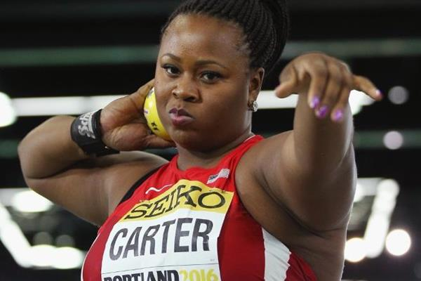 Michelle Carter, winner of the shot put at the IAAF World Indoor Championships Portland 2016 (Getty Images)