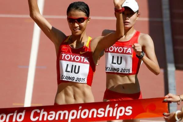 Liu Hong wins the 20km race walk at the IAAF World Championships, Beijing 2015 (Getty Images)