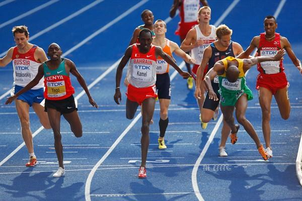 (L-R) Alfred Yego of Kenya, Yusuf Kamel of Bahrain and Mbulaeni Mulaudzi of South Africa cross the line in the men's 800m final in Berlin (Getty Images)